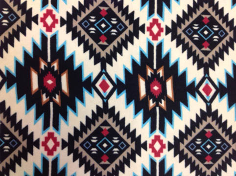 Blue American Indian Type Pattern Fleece Fabric